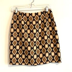 Ann Taylor Petites Silk Brown Geometric Skirt
